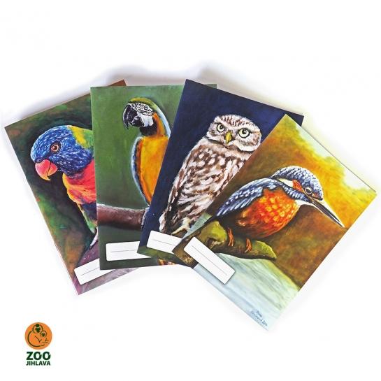 Sešit s malovaným zvířetem - ptáci