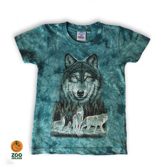 Tričko batikované dětské - Vlk