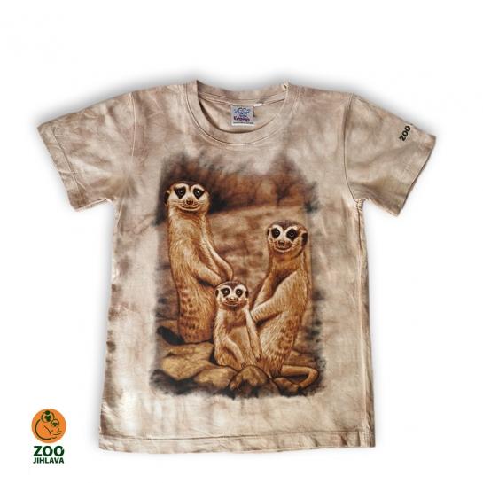 Tričko batikované dětské - surikaty