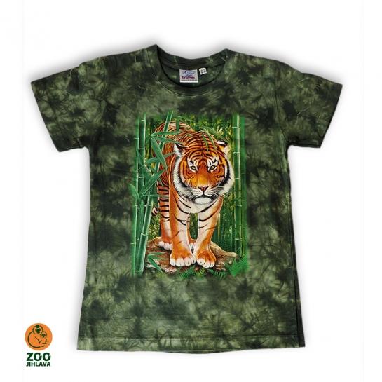 Tričko batikované dětské - tygr v bambusu