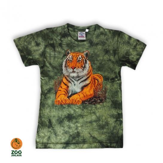 Tričko batikované dětské - Tygr sedící