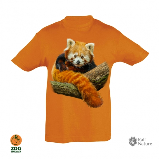 Tričko dětské - Panda červená - oranžové