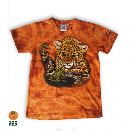 Tričko batikované dětské - levhart mládě