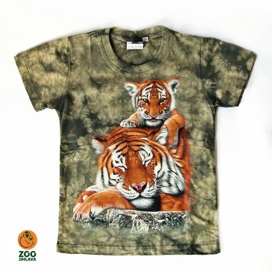 Tričko batikované dětské - Tygr s mládětem