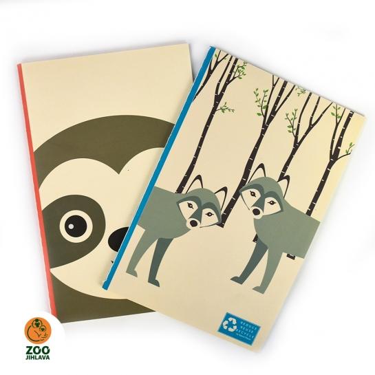 Sešit z recyklovaného papíru se zvířetem